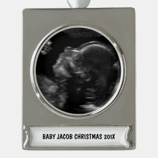 Custom Baby Ultrasound Photo Silver Plated Banner Ornament