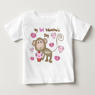 Custom Baby's 1st Valentine's Day Monkey T-Shirt