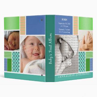 Custom Baby's First Album :: Blue Patchwork Binder
