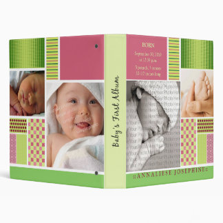 Custom Baby's First Album :: Lime Patchwork 3 Ring Binder
