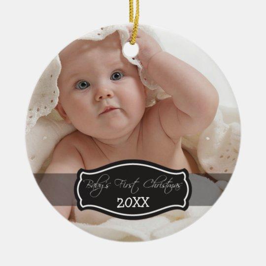 Custom Baby's First Christmas Ornament (black)