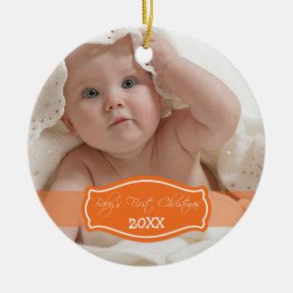 Custom Baby's First Christmas Ornament (orange)