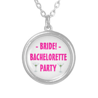 Custom Bachelorette Party Bride Martini Drink Silver Plated Necklace