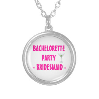 Custom Bachelorette Party Bridesmaid Martini Drink Silver Plated Necklace