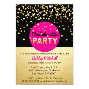 Pink Gold Bachelorette Party Invitations Zazzle