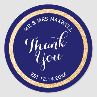 Custom Background Color and Gold Glitter Thank You Classic Round Sticker