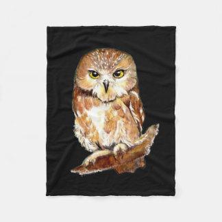 Custom Background Color Cute Little Owl Art Fleece Blanket