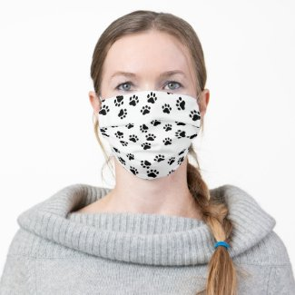 Custom Background Color Dog Paws Adult Cloth Face Mask
