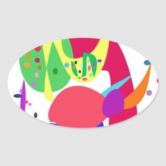 Custom Background Color Fireworks Oval Stickers