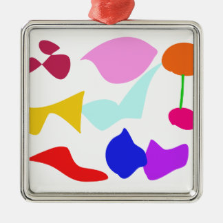 Custom Background Color Key to Happiness Square Metal Christmas Ornament