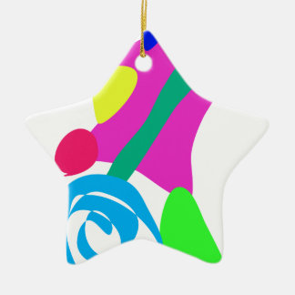 Custom Background Color Unicycle Double-Sided Star Ceramic Christmas Ornament