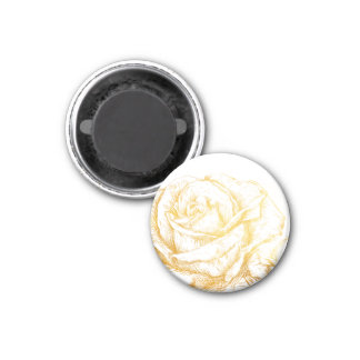 Custom Background Vintage Roses Floral Faux Gold 1 Inch Round Magnet