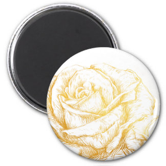 Custom Background Vintage Roses Floral Faux Gold 2 Inch Round Magnet