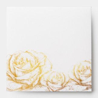Custom Background Vintage Roses Floral Faux Gold Envelope