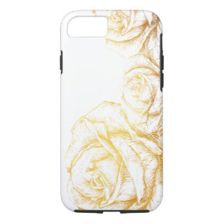 Custom Background Vintage Roses Floral Faux Gold iPhone 8/7 Case