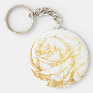 Custom Background Vintage Roses Floral Faux Gold Keychain