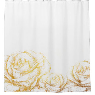 Custom Background Vintage Roses Floral Faux Gold Shower Curtain
