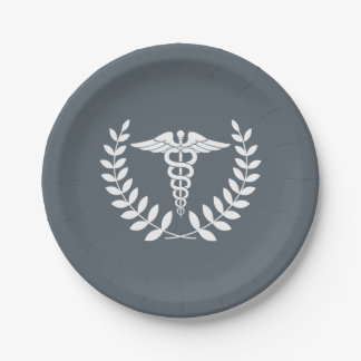 Custom Background/White Caduceus Medical Doctors Paper Plate
