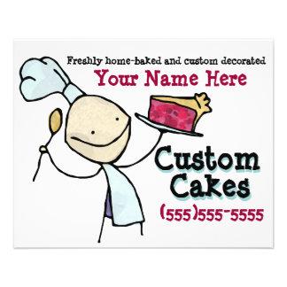 Custom Baking. Cake Decorating. Advertising flyer