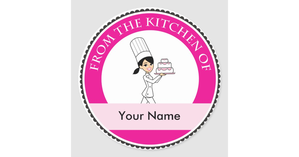 Custom baking label with illustration classic round sticker zazzle - Stickers style industriel ...