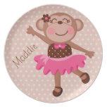 Custom Ballerina Monkey Kids Plate