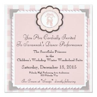 "Custom Ballet Performance Announcement - 5.25"" Square Invitation Card"