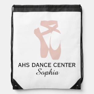 86fab7976e5c Custom Ballet Slipper Ballerina Dance Center Name Drawstring Bag