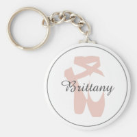 Custom Ballet Slipper Ballerina Dance Center Name Keychain