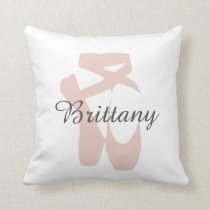 Custom Ballet Slipper Ballerina Dance Center Name Throw Pillow