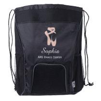 Custom Ballet Slipper Ballerina Dancer Center Name Drawstring Backpack