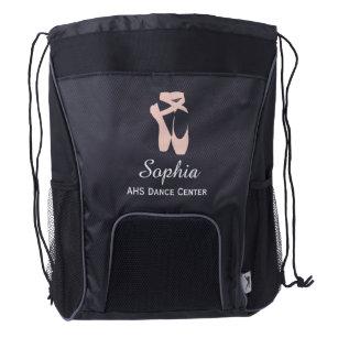 20305b54a070 Custom Ballet Slipper Ballerina Dancer Center Name Drawstring Backpack