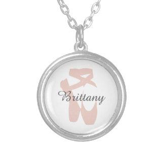Custom Ballet Slipper Ballerina Dancer Center Name Silver Plated Necklace