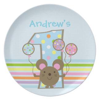 Custom Balloon Mouse Blue 1st Birthday Dinner Plate