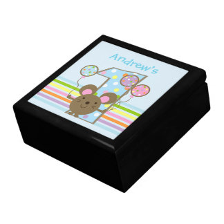 Custom Balloon Mouse Blue 1st Birthday Jewelry Box