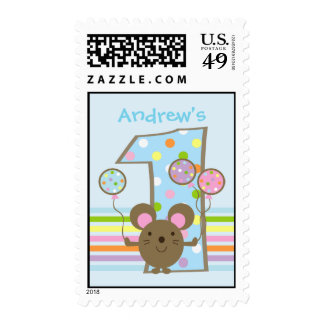 Custom Balloon Mouse Blue 1st Birthday Stamps