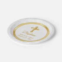 Custom Baptism in  Pretty White Damask and Gold Paper Plate