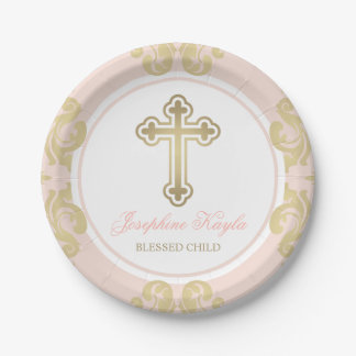 Custom Baptism Plates | Elegant Gold Flourish