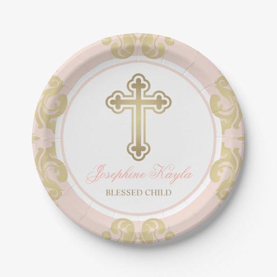 Custom Baptism Plates | Elegant Gold Flourish | Zazzle.com