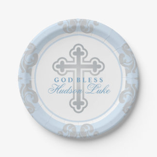Custom Baptism Plates | Elegant Silver Flourish