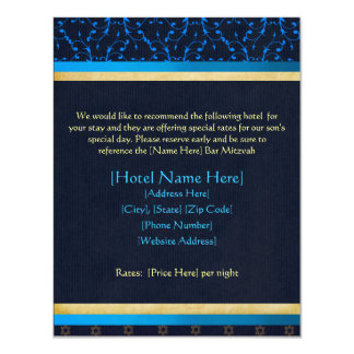 Custom Bar Mitzvah Accommodations Cards Personalized Announcement