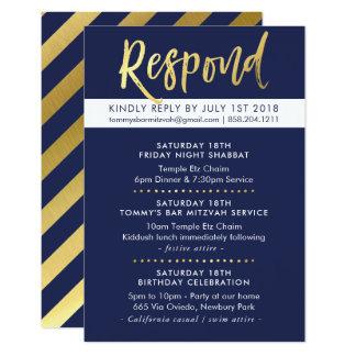 CUSTOM Bar Mitzvah enclosure Tommy navy + gold Card