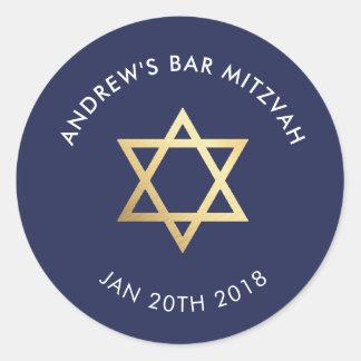 CUSTOM Bar Mitzvah for jewish star navy + gold Classic Round Sticker
