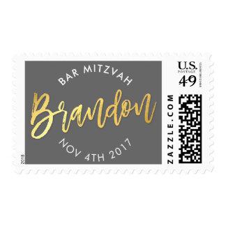 CUSTOM Bar Mitzvah mail for Brandon grey + gold Postage