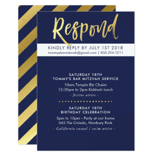 CUSTOM Bar Mitzvah party Tommy navy + gold Card