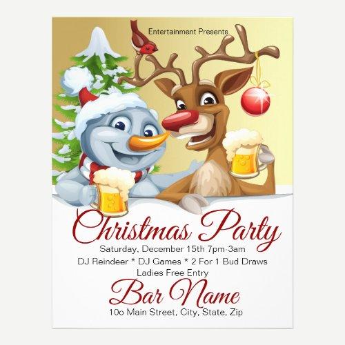 """Custom Bar Party Santa and Reindeer 8.5""""x11"""" Flyer"""
