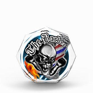Custom Barber Skull with Flaming Razor Award