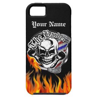 Custom Barber Skull with Flaming Razor iPhone SE/5/5s Case