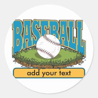 Custom Baseball Add Text Classic Round Sticker