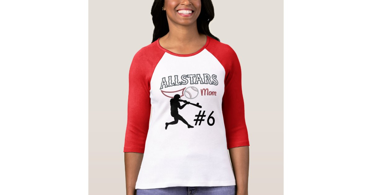 Custom Quot Baseball All Stars Mom Quot 3 4 Sleeved T Shirt