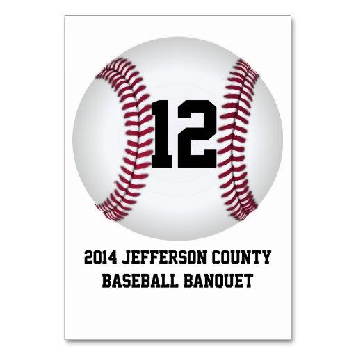 Custom Baseball Banquet Table Number Card Table Card